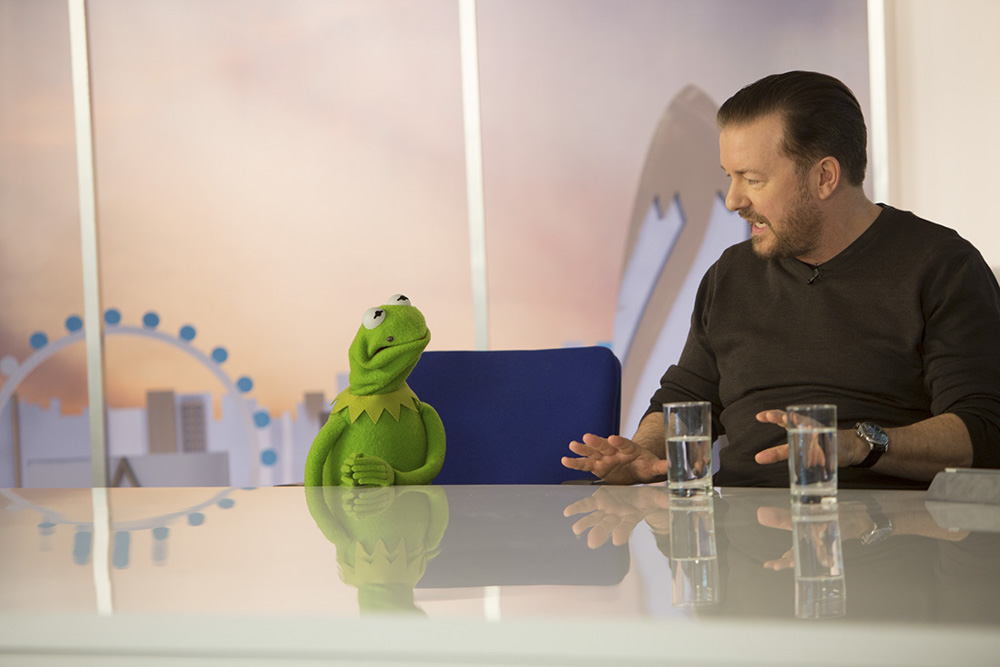 Ricky Gervais interview Kermit The Frog Muppets Most Wanted StillMoving