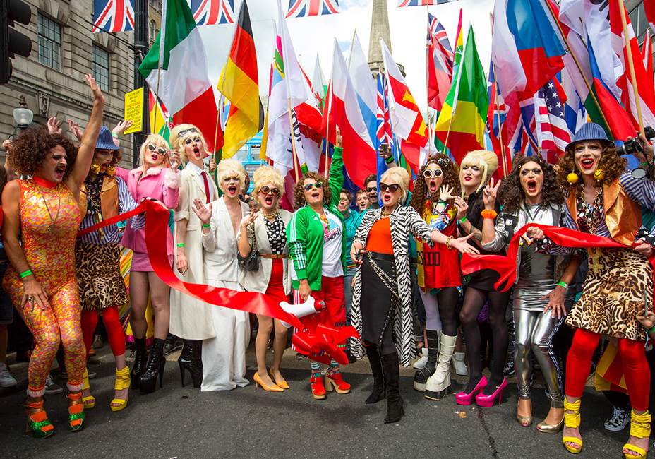 Ab-Fab Pride festival London drag queen flags StillMoving Jennifer Saunders and Joanna Lumley StillMoving