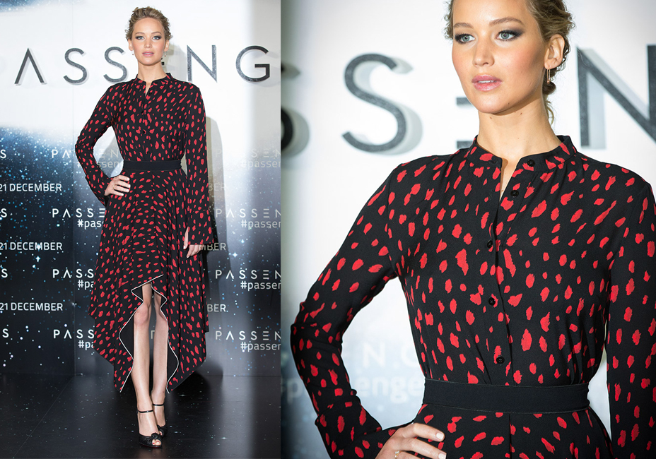 Jennifer Lawrence Passengers UK Premiere red and black dress StillMoving