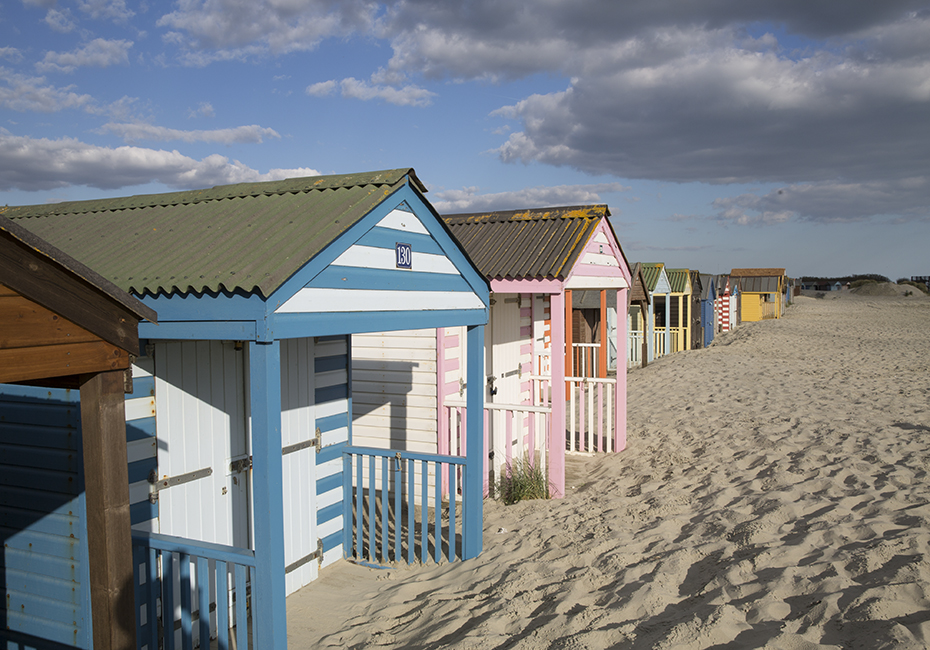 Beach Huts Colourful Sandy Beach Worthing