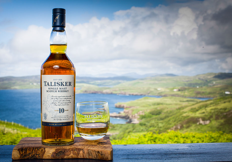 TALISKER whisky by hills and sea